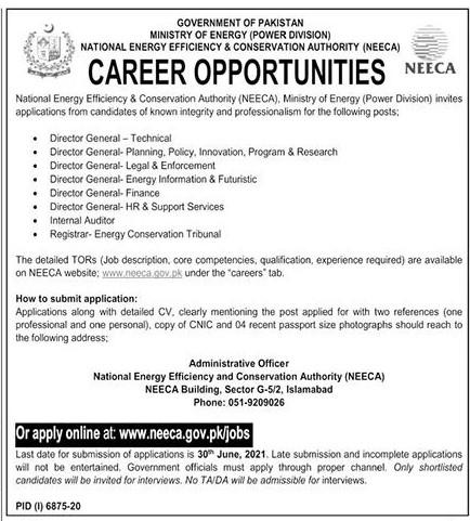 www.neeca.gov.pk Jobs - Ministry of Energy - National Energy Efficiency & Conservation Authority (NEECA) Jobs 2021 in Pakistan