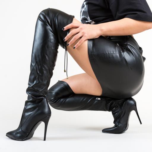 Cizme elegante inalte peste genunchi cu toc subtire negre