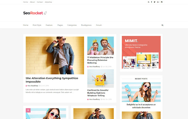 SeoRocket Responsive Magazine News Family Tutorial Clean Blogger Template Theme