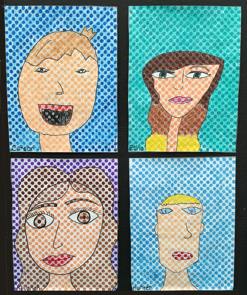 Spring Gallery Art:  Dotted Faces by a 4th Grade Class