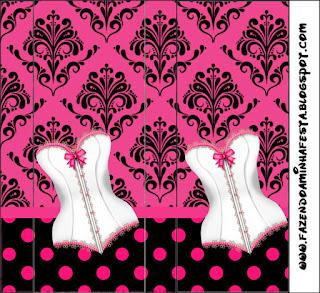 Etiquetas para Imprimir Gratis de Lencería en Rosa.
