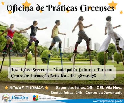 Secretaria Municipal de Cultura de Registro-SP recebe inscrições para novas oficinas