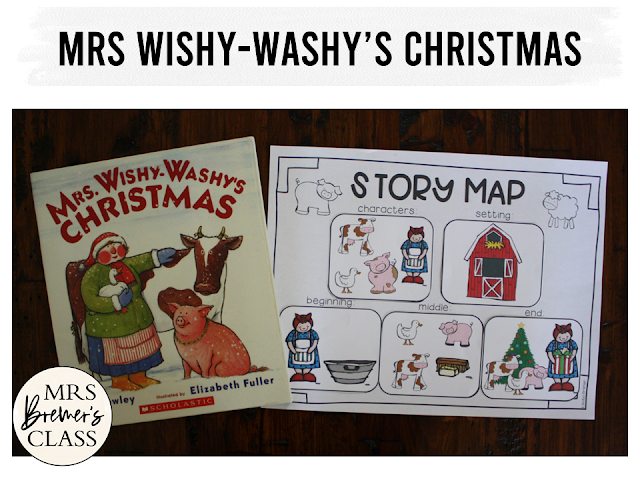 Mrs. Wishy-Washy's Christmas book study companion literacy activities, perfect for Christmas in the classroom! Packed with fun literacy ideas and guided reading activities, it includes a class book and a craftivity perfect for a bulletin board display. Common Core aligned. K-1 #bookstudy #bookstudies #kindergarten #Christmas #christmasbooks #picturebookactivities #literacy #guidedreading #mrswishywashy #bookcompanion #bookcompanions #kindergartenreading #1stgradereading