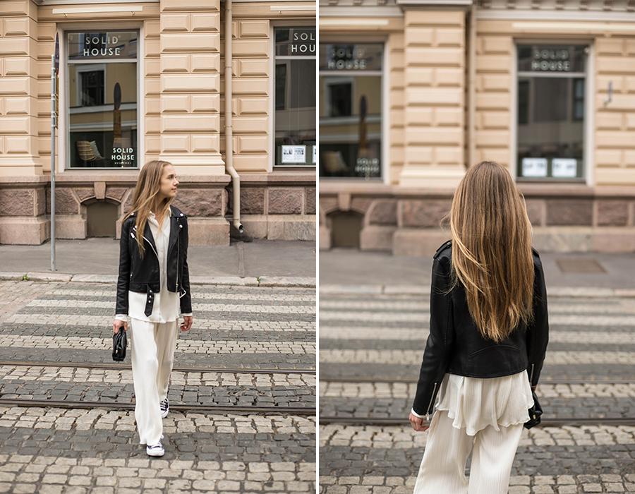 Valkoiset ribbihousut ja paita // White ribbed trousers and shirt