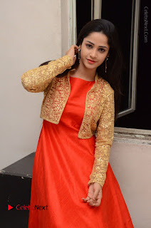 Telugu Actress Divya Nandini Stills in Orange Sleeveless Gown at Chennai Chaitrama Movie le Launch Event  0102.JPG