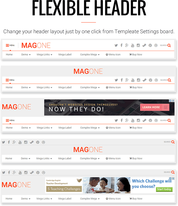 All In One Header Layout - MagOne - Magazine Blogger Template