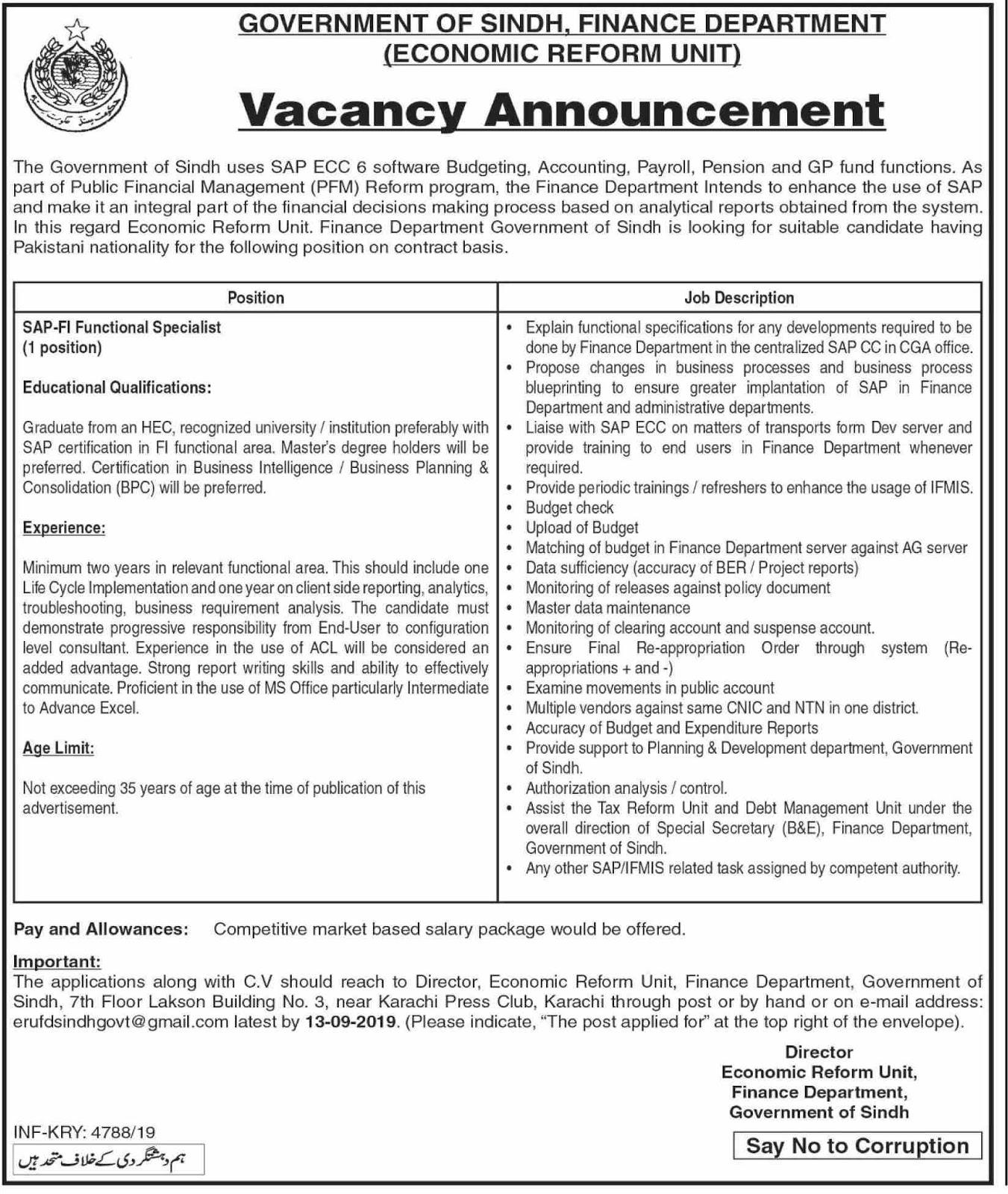 Advertisements for Finance Department Sindh Jobs August 2019