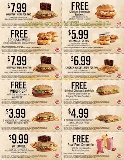 Burger King coupons for february 2017