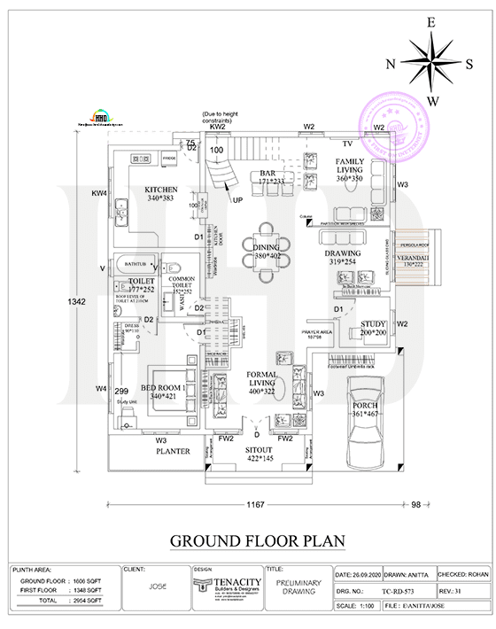 2d ground floor plan drawing