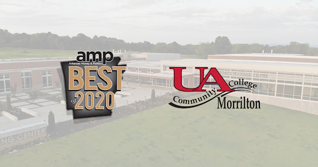 Best of 2020 and UACCM logos on top of Workforce Training Center aerial photograph