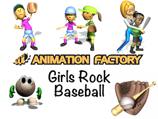 Clipart Image of a Girls Rock Baseball Animated Sticker Pack