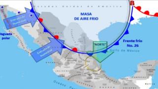 Frente Frío No. 26 llega a Tamaulipas y norte de Veracruz