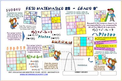 Retos Matemáticos, Problemas Matemáticos, Desafíos Matemáticos, Sudoku, Sudoku 6x6, Función Cuadrática, Funciones, Parábola, Función de Segundo Grado