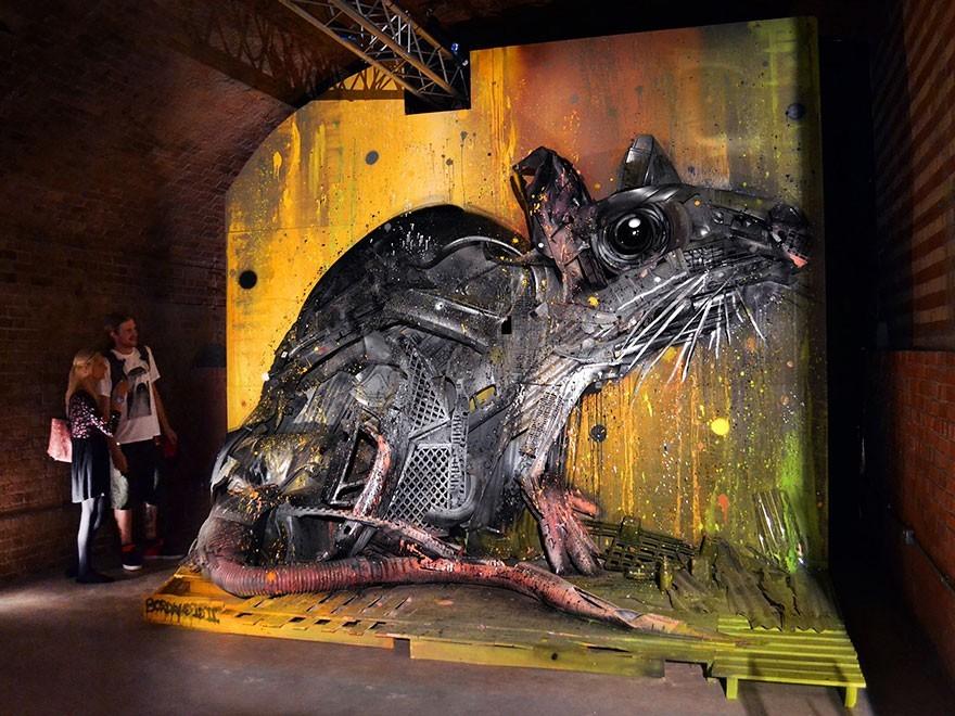 Tikus - Seni Lukisan Binatang Menakjubkan Dan Kreatif Dari Bahan Sampah