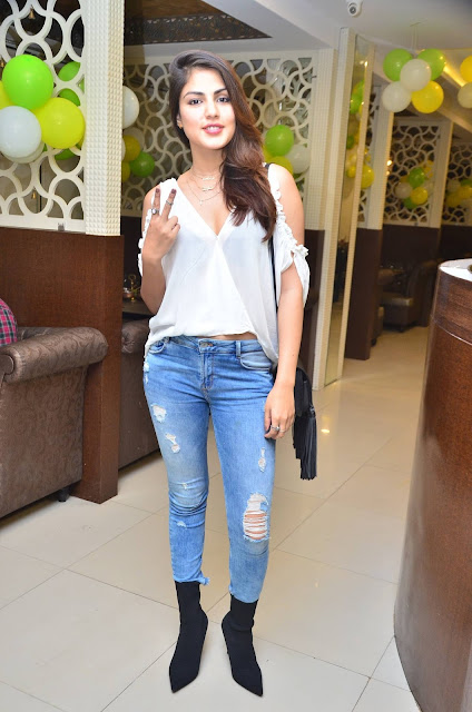 Rhea Chakraborty Hot at Junior Kuppanna Restaurant Launch