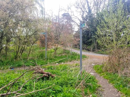 Turn left on Ridge footpath 20 just before you reach Packhorse Lane