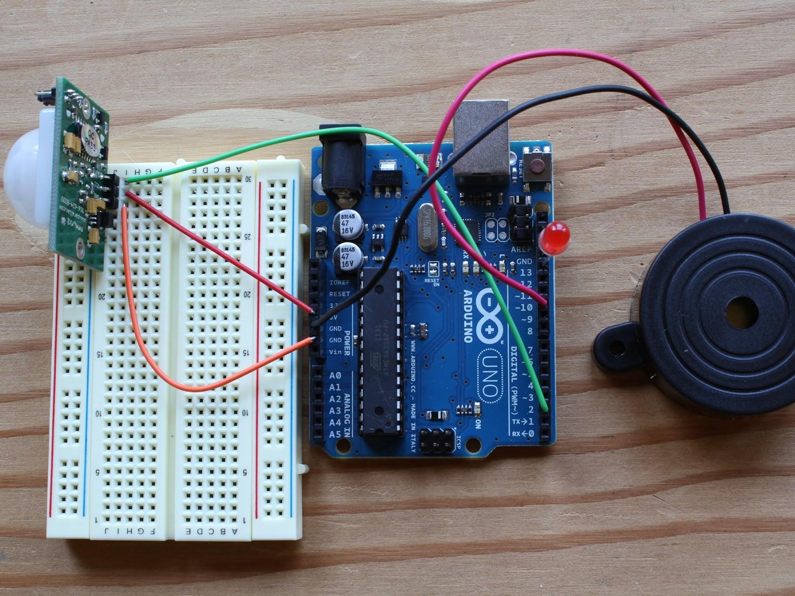 Arduino pir motion sensor alarm simple tutorial