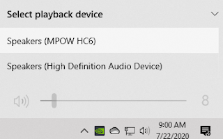 List of selectable playback devices when you click on the speaker icon for volume control in the system tray.