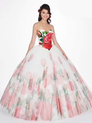 Ivory Print Color Mary's Quinceanera Ball Gown Design Dress