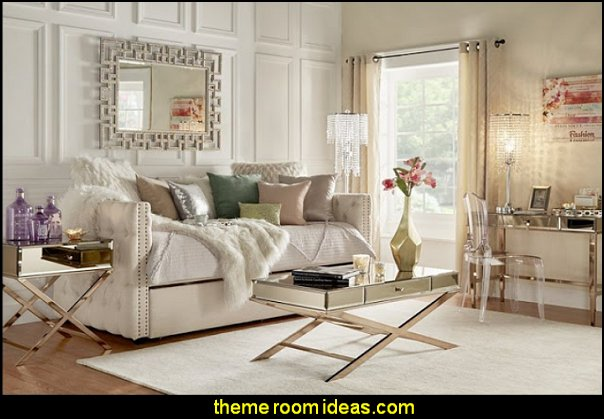 Tufted Daybed mirrored furniture hollywood glam living room furniture Hollywood Vanity Mirrors