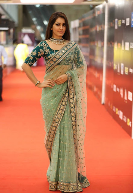 Rashi Khanna In Green Saree at CineMAA Awards 2016