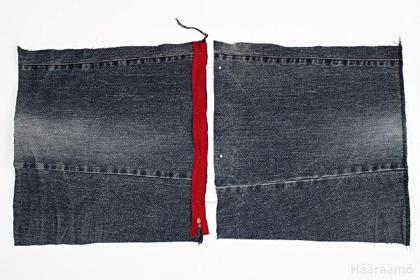 Vetoketjun ompelu farkkulaukkuun