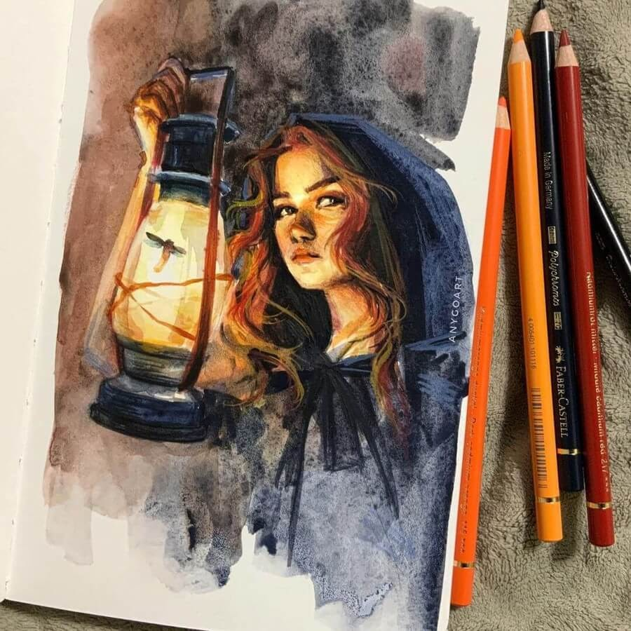 08-At-night-with-an-oil-lamp-Anya-Goart-www-designstack-co