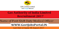 Gas Authority of India Limited Recruitment 2017-Shift Duty Medical Officer