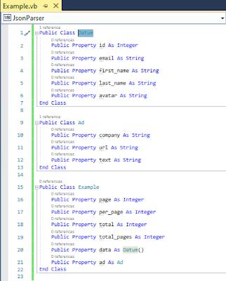 Membuat object class dari json
