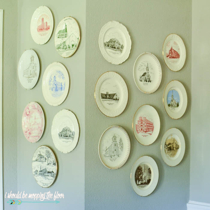 Vintage Church Plates | Fun and kitchsy vintage church plates are budget-friendly collectables that look beautiful displayed together.