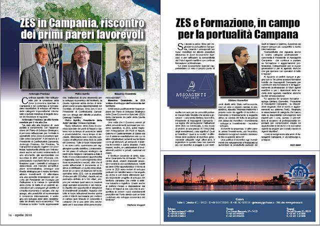 APRILE 2018 PAG. 17 - ZES e Formazione, in campo per la portualità Campana