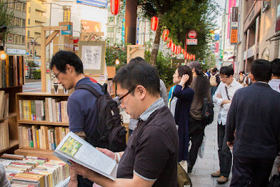 Customers at the 56th Kanda Second-hand Book Festival, along Yasukuni-dori Avenue