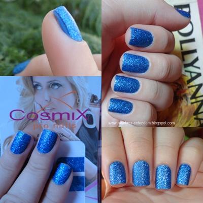 Esmalte adesivo com glitter azul