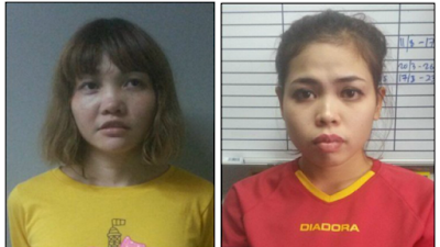 "Doan Thi Huong and Siti Aisyah mugshot photos from the 2020 movie ""Assassins"""
