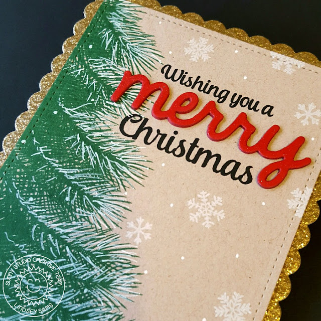 Sunny Studio Stamps: Holiday Style and Merry Sentiments Christmas Card by Lindsey Sams.