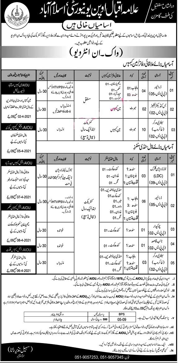 Allama Iqbal Open University AIOU Islamabad 2021 Latest Jobs -Apply Online