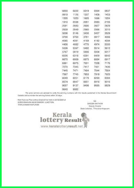Kerala  Lottery Result 13-02-2020 Karunya Plus KN-303 Lottery Result