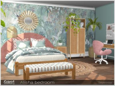 Alisha bedroom (part I) Спальня Алиши (часть I) для The Sims 4 Набор мебели и декора для дизайна спальни в стиле ScandiBoho Набор включает в себя 11 предметов: - двуспальная кровать - одеяло с двуспальной кроватью - подушки с двуспальной кроватью - кровать с двуспальной кроватью - столик - высокий стол - шкаф - пуф - пуф - занавес - напольный ротанг - зеркало бохо для The Sims 4 , интерьер в стиле бохо для The Sims 4 , стиль бохо в интерьере, бохо для The Sims 4 , интерьер для The Sims 4, спальня в стиле бохо для The Sims 4, гостиная в стиле бохо для The Sims 4, столовая в стиле бохо для The Sims 4, кабинет в стиле бохо для The Sims 4, дом в стиле бохо для The Sims 4, веранда в стиле бохо для The Sims 4, дворик в стиле бохо для The Sims 4, комната в стиле бохо для The Sims 4, мебель в стиле бохо для The Sims 4, декор в стиле бохо для The Sims 4, Автор: Severinka_