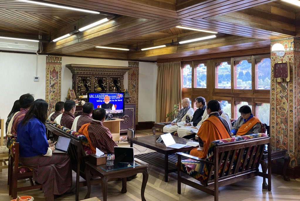 Bhutan Prime Minister Dr Lotay Tshering joins the SAARC leaders in a video conference