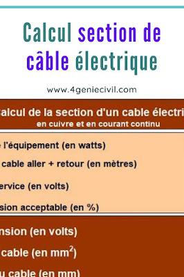 calcul section câble 12v, calcul section câble courant , continu calcul chute de tension section câble,