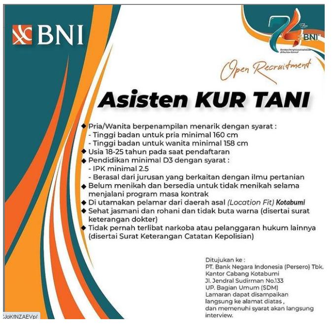 Lowongan Kerja BUMN Bank BNI Januari 2021