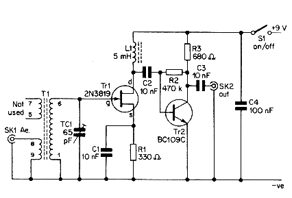 Aerial Booster Circuit Diagram for Citizens Band Project