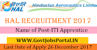 Hindustan Aeronautics Limited Recruitment 2017– ITI Apprentice