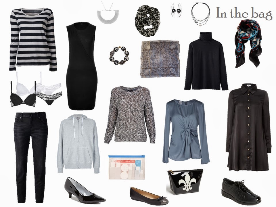 What to pack for Paris, in black, white and blue