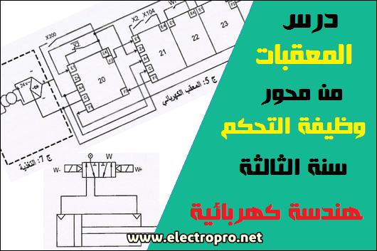 درس المعقبات الكهربائية والهوائية من محور وظيفة التحكم سنة الثالثة هندسة كهربائية