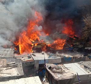नासिक के गंजामल स्लम इलाके में भीषण आग