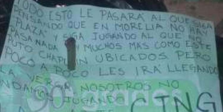 """""""Al que siga pensando que en Morelia no hay plaza"""", CJNG dos descuartizados y embolsados junto a narcomensaje en Morelia, Michoacán"""
