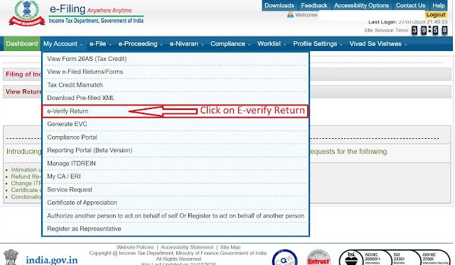How to E verify ITR