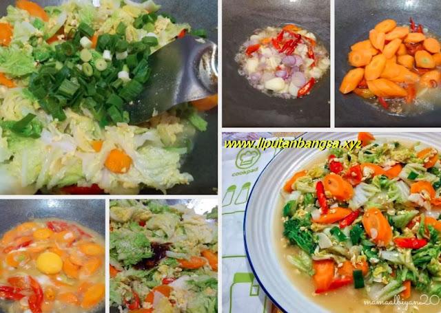 Tumis Sawi putih, wortel dan telur