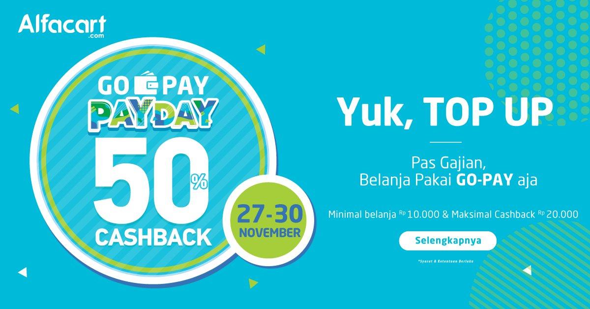 Alfamart - Promo Cashback 50% TopUp Saldo di Alfacart ( 27 - 30 Nov 2018)